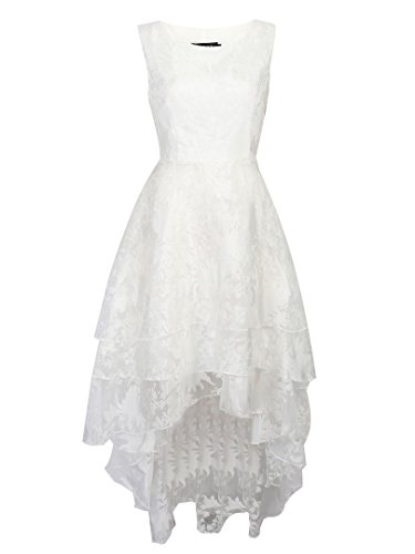 Persun Women's White Floral Print Gauze Panel Multi Layer Sleeveless Hi-lo Dress, White, Medium