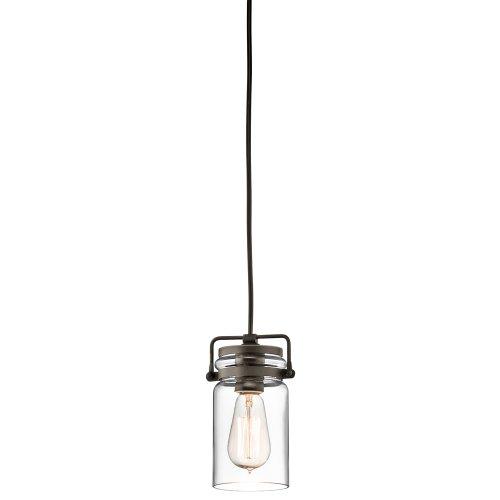Kichler Lighting 42878Oz Brinley 1Lt Mini-Pendant, Olde Bronze Finish With Clear Glass Shade
