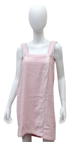 Solid Cotton Terry Loop Plus Size Shower Wrap With Gingham Trim, Pink, One Size front-28323