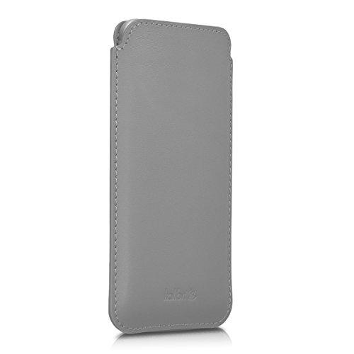 kalibri-Leder-Tasche-Hlle-fr-Apple-iPhone-6-6S-7-Handy-Case-Cover-Echtleder-Schutzhlle-in-Hellgrau