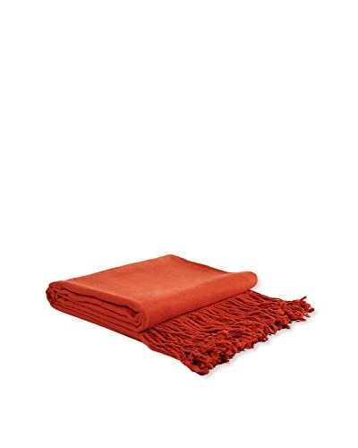 PÜR Cashmere Rayon From Bamboo Velvet Throw, Poppy Red