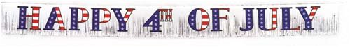 7 Foot Patriotic Metallic Fringed Banner - 1