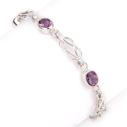 Men's Amethyst Bracelet, Sterling Silver, Model SCBL00272, by Ortak
