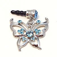 1X Rhinestone Butterfly Dust Proof Dust Plug Iphone Speaker Plug Plugy - Sky Blue