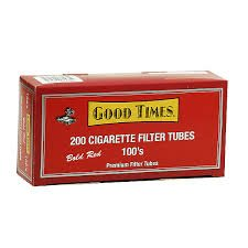 Good Times 100 Full Flavor Cigarette Tubes - 5 Boxes with Cigarette Filling Machine