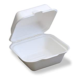 Stalkmarket 100% Compostable Sugar Cane Fiber Hinged Container, Hamburger Box, 250-Count Case