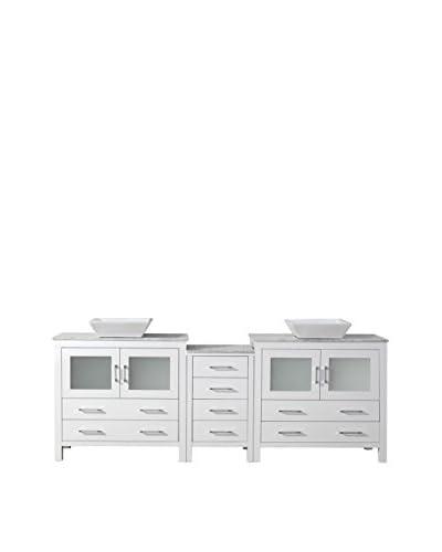 "Virtu USA Dior 90"" Double Bath Vanity Cabinet, White/White Marble"