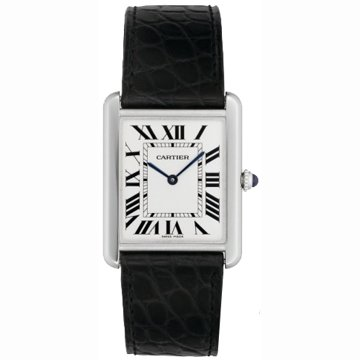 Cartier Men's W1018355 Tank Solo Stainless Steel Black Leather Watch