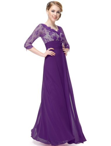 HE09053PP18, Purple, 16US, Ever Pretty Chiffon Maxi Dresses With Sleeves 09053