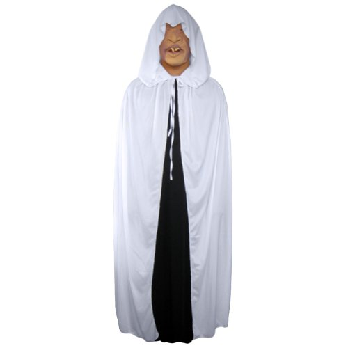 "54"" White Cloak with Large Hood ~ Halloween Costume Cape (STC11519)"
