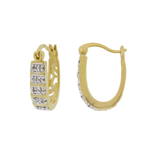 18k Yellow Gold Overlay Sterling Silver Diamond-Accent Hoop Earrings (0.5