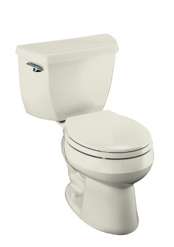 Kohler K-3577-96 Wellworth Classic 1.28 gpf Round-Front Toilet with Class Five Flushing Technology and Left-Hand Trip Lever, Biscuit