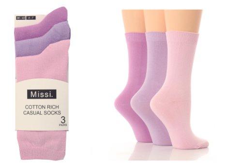 3 Pairs of Ladies Missi Cotton Ankle Socks Pink Lilac 4-7 uk, 36-42 eur