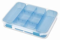 Sterilite 14028606 Divider Case, Clear/Blue - Quantity 6