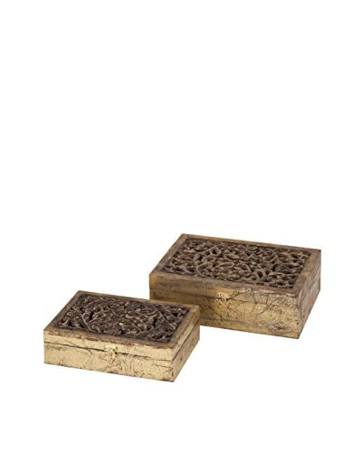 Max & Nellie Set of 2 Mazie Carved Wood Boxes