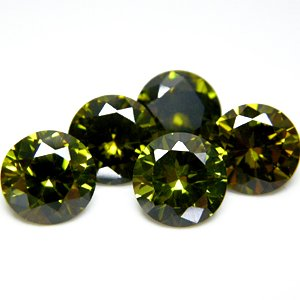 Round 8mm Olive Green CZ Cubic Zirconia Loose Stone Lot of 50 Pieces