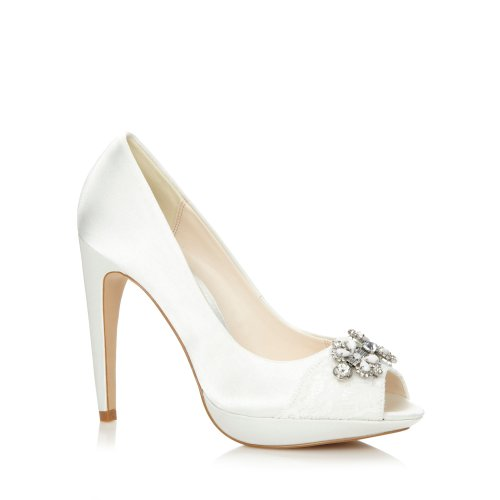 No. 1 <strong>Jenny Packham Womens Designer Ivory Lace And Jewel Trim High Court <strong>Shoes