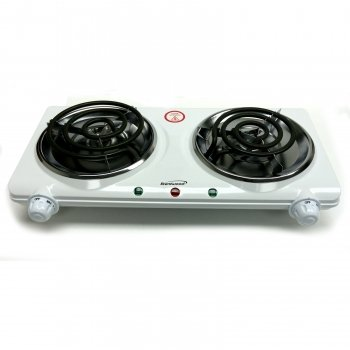Brentwood Electric 1500W Double Burner White Finish -2Pack