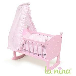 berceau avec ciel de lit pour poup e anita 22 cm rose pois blancs jeux et jouets. Black Bedroom Furniture Sets. Home Design Ideas