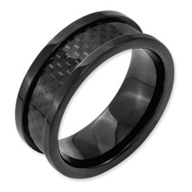 Genuine IceCarats Designer Jewelry Gift Titanium 9Mm Black-Plated W/Carbon Fiber Inlay Polished Band Size 10.00