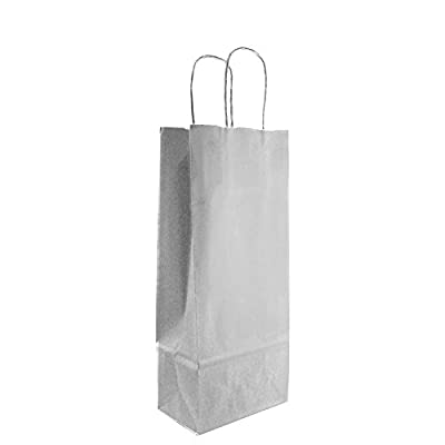 Dashleigh 8550 Wine Bottle White Bags with Handles and Gift Tags, Set of 12, 13 x 5.5 x 3 Inches, Medium