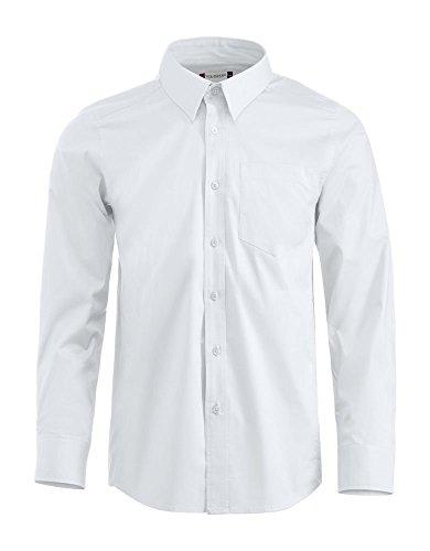 camicia uomo manica lunga cotone stretch taglie forti (5XL, BIANCO)