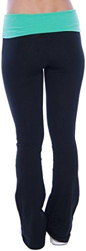 Hollywood-Star-Fashion-Womens-Slimming-Foldover-Bootleg-Flare-Yoga-Pants
