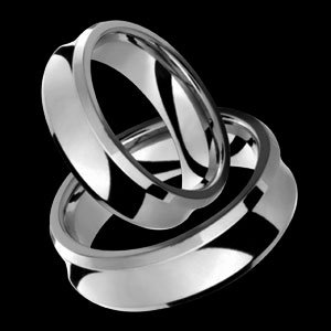 Srey - size 4.25 Funky Shaped Titanium Wedding Band Set
