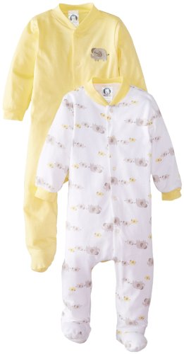 Gerber Unisex-Baby Newborn 2 Pack Sleep N Play - Elephant, Yellow, 6-9 Months front-106474
