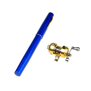 BestDealUSA Mini Pocket Aluminum Alloy Fishing Fish Travel Pen Shape Rod Pole Blue