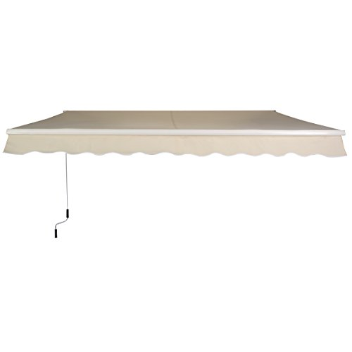 Goplus® Manual Patio 8.2'×6.5' Retractable Deck Awning Sunshade Shelter Canopy Outdoor (Beige)