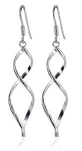 LWES005 Sterling Silver Wavy Design French Ear Wire Hook Dangle Earrings