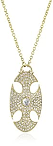 Mizuki 14k Gold and Diamond Large Oval Cross Shield Chain Necklace