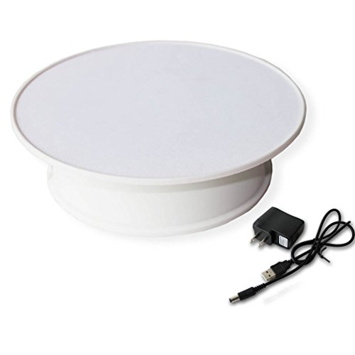 Stylish White Velvet Top Electric Motorized Rotary Rotating Display Turntable for Model Jewelry Hobby Collectible Home Christmas Decor - With 110v Ac Adapter (Rotating Table Display compare prices)