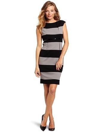 (新品)卡尔文Calvin Klein Women's Stripe Sleeveless条纹无袖连衣裙,$80.64