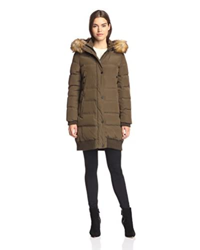 7 For All Mankind Women's Quilted Coat with Banded Hem