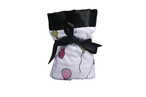 Stroller Blanket In Balloon Minky With White Minky Dot Black Satin Flat front-327717