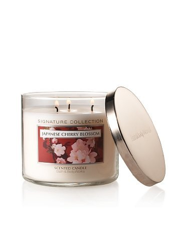 Bath & Body Works Signature Collection Saltkin & Co Japanese Cherry Blossom 3 Wick Scented Candle 14.5 Oz