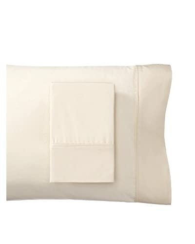 Mélange Home Egyptian Cotton Percale Double Pleat Pillowcases, Gardenia Ivory, Standard