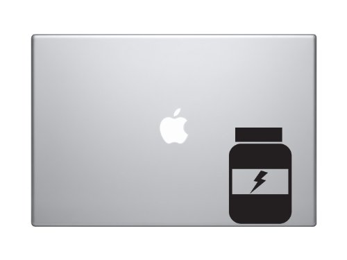 "Fitness Gym Art #7 - Vitamins Protein Powder Bottle - 5"" Black Vinyl Decal Sticker Car Macbook Laptop"