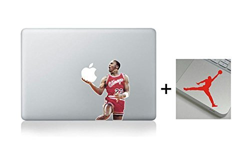 Get 2 Stickers-A Free Wrist Sticker! Michael Jordan Slam Dunk Nba Basketball Cartoon Character Decal Sticker for Macbook Laptop Air Pro Retina 13 14 15 Inch Cool