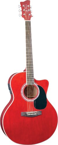 Jay Turser Jta-444-Cet-Tr Acoustic-Electric Guitar, Transparent Red