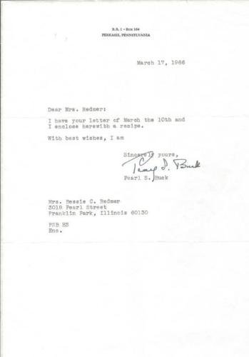 Pearl Buck Author Signed 1966 Typed Letter & Spare Ribs Recipe