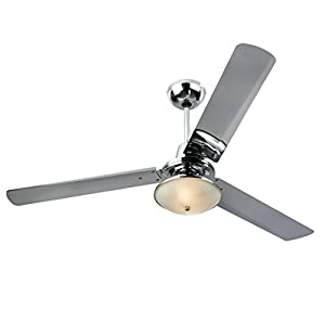 Modern Chrome Effect 56 Inch Ceiling Fan With Light & Remote Control