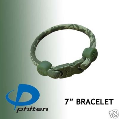 Phiten Custom Titanium Green Camouflage Bracelet with Green Trim and Forest Green Clasp 7″