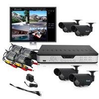 Zmodo PKD-DK4216 Surveillance Camera Kit with 4-Channel H.264 DVR and 4 Indoor/Outdoor IR Cameras - Hard Drive Not Included