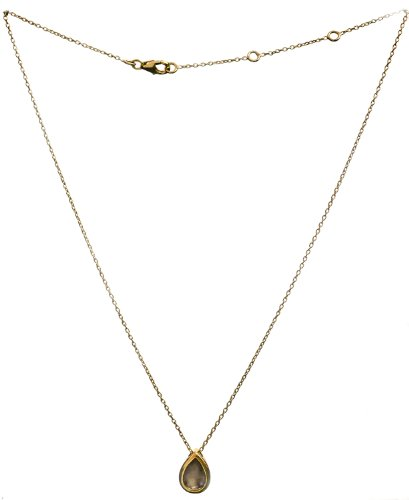 Sterling Gold Plated Necklace with Gems - Sterling Silver - Color Labradorite