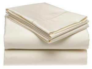 Solid Ivory 550 Thread Count Twin Extra Long Size Sheet Set 100 % Egyptian Cotton 3Pc Bed Sheet Set (Deep Pocket)Xl Twin By Sheetsnthings front-1047747