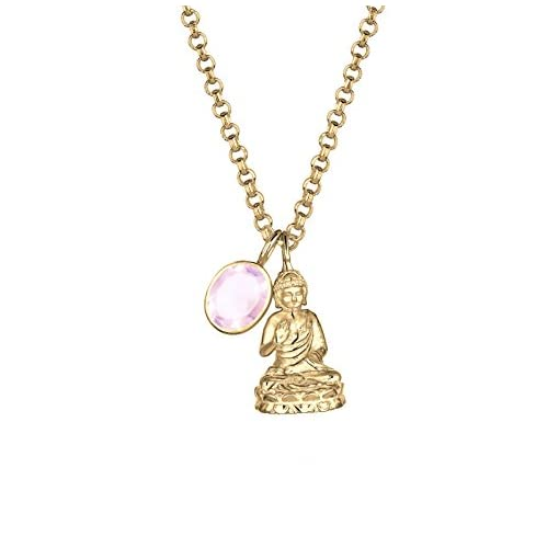ELLI-PREMIUM-Damen-Kette-mit-Anhnger-Karma-Buddha-925-Silber-Quarz-Brillantschliff-rosa-80-cm-010266201580