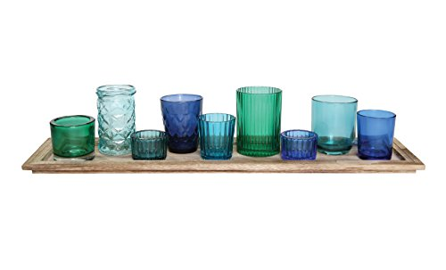Creative Co-op Wood Tray with Glass Tea Light Candle Holders Set (Cobalt Blue Tea Light Holders compare prices)